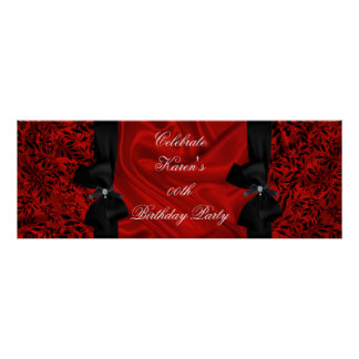 Banner Add Age Birthday Party Red Damask Black Poster