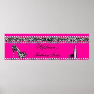 Banner Birthday Hot Pink Lipstick Zebra Leopard Poster