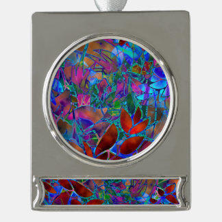 Banner Ornament Floral Abstract Stained Glass Silver Plated Banner Ornament