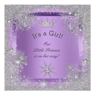 Banner Princess Baby Shower Lilac Purple Poster