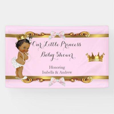 Banner Princess Baby Shower Pink White Gold Ethnic Zazzle Com Au
