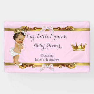 Banner Princess Baby Shower Pink White Gold