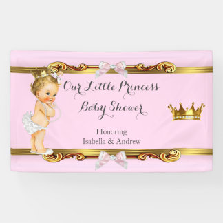 Banner Princess Baby Shower Pink White Gold Blonde