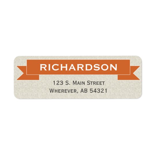 Banner ribbon sign orange return address label