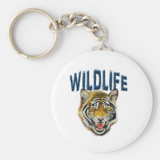 banner Wildlife with tiger Basic Round Button Key Ring