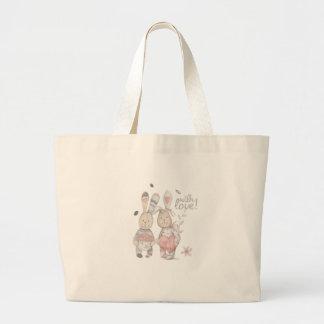 banny rabbit couple 2 large tote bag