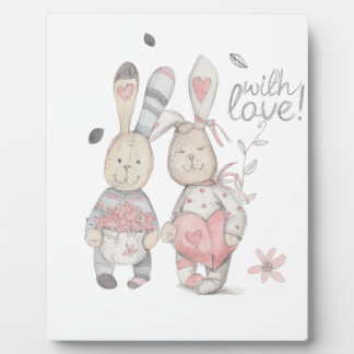 banny rabbit couple 2 plaque