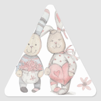 banny rabbit couple 2 triangle sticker