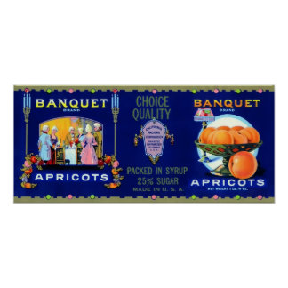 Banquet Brand Apricots Vintage Poster