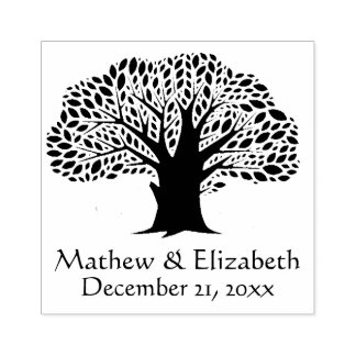 Banyan Tree Rustic Outdoor Wedding Rubber Stamp