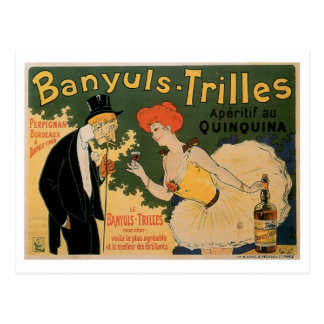 Banyuls Trilles Vintage Wine Drink Ad Art Postcard