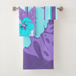 Banzai Beach Hawaiian Hibiscus Floral and Stripe Bath Towel Set