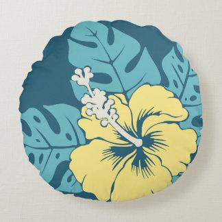 Banzai Beach Hawaiian Hibiscus Reversible Round Pillow