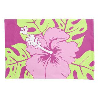 Banzai Beach Hawaiian Hibiscus Reversible Stripe Pillowcase