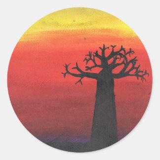 Baobab Silhouette Classic Round Sticker