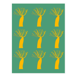 Baobabs gold on eco green postcard