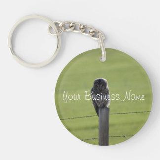 BAOW Barred Owl Single-Sided Round Acrylic Key Ring