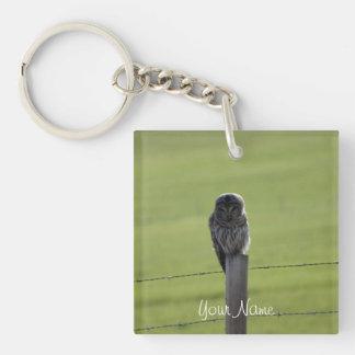 BAOW Barred Owl Single-Sided Square Acrylic Key Ring