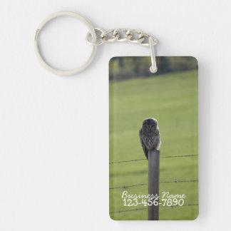 BAOW Barred Owl Single-Sided Rectangular Acrylic Key Ring