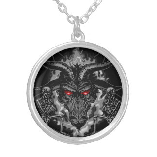 Baphomet Pentagram Black Metal Round Pendant Necklace
