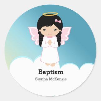 Baptism Angel Girl Round Sticker