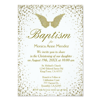 Baptism | Angel Wings & Gold Confetti Card