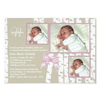 Baptism Baby Birch Photo Pink Card