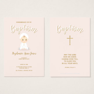 Baptism Baby Girl with Bonnet Business Card