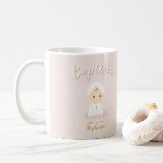 Baptism Baby Girl with Bonnet Coffee Mug
