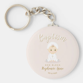 Baptism Baby Girl with Bonnet Key Ring