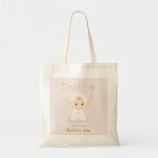 Baptism Baby Girl with Bonnet Tote Bag