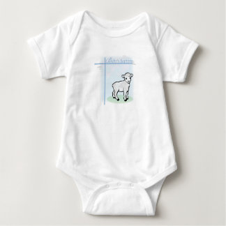 Baptism Blue Boy Lamb, Customizable Baby Bodysuit