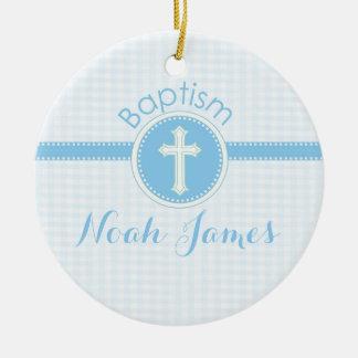 Baptism Blue Child of God, Customizable Round Ceramic Decoration