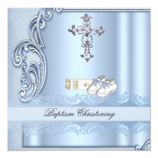 Baptism Blue Cross Boy damask christening 13 Cm X 13 Cm Square Invitation Card