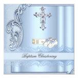 Baptism Blue Cross Boy damask christening Invites