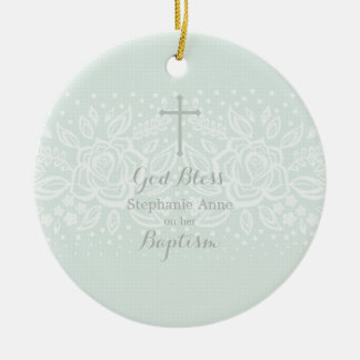 Baptism Blue Opal Delicate Floral Lace Round Ceramic Decoration