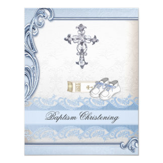 Baptism Blue White Cross Boy Damask christening 11 Cm X 14 Cm Invitation Card