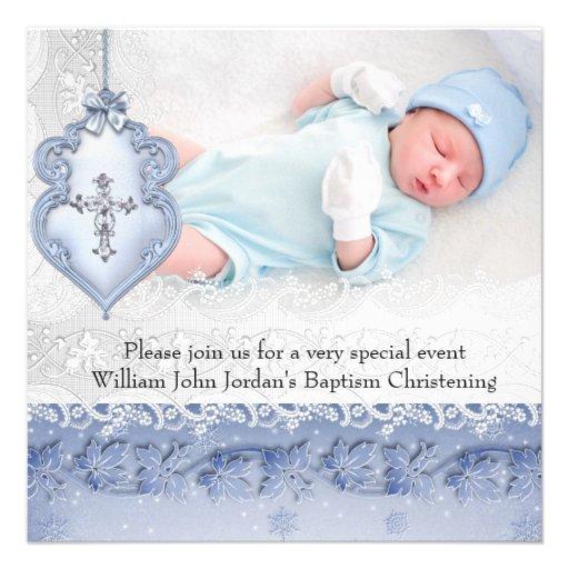 Baptism Blue White Lace Photo Jewel Cross Boy Personalized Invites