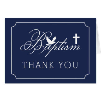 Baptism | Boy Dove and Cross Dark Blue Thank You Card