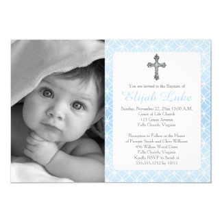 Baptism | Boy Eternity Rings Crosses Photo 13 Cm X 18 Cm Invitation Card