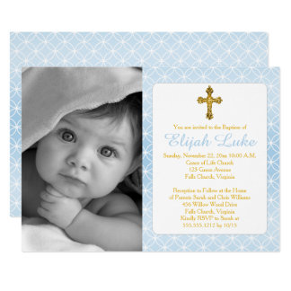 Baptism | Boy Eternity Rings Gold Cross Photo Card