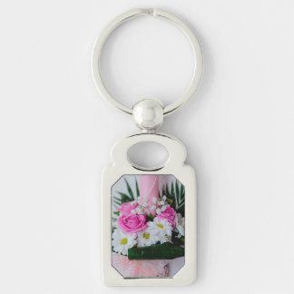 Baptism candle Silver-Colored rectangle key ring