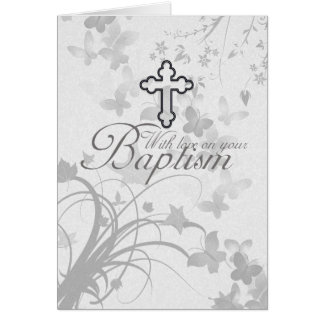 Baptism Card With Cross Flowers Butterflies