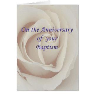 Baptism/Christening Anniversary white rose Card
