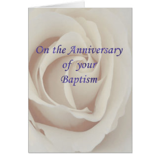 Baptism/Christening Anniversary white rose Greeting Card