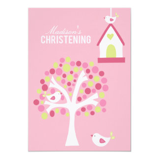 Baptism Christening Bird Tree Custom Invitation