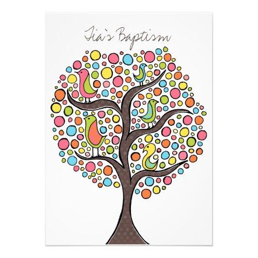 Baptism Christening Bird Tree Custom Invitation