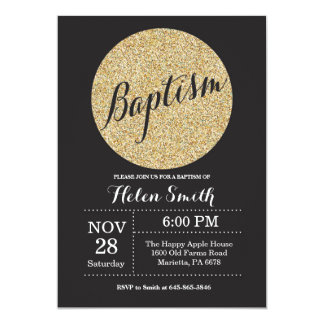 Baptism Christening Black Gold Glitter Invitation