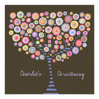 Baptism Christening Circle Tree Retro Invitation