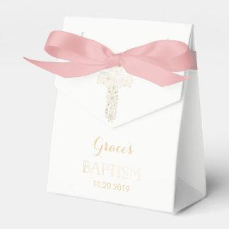 Baptism, Christening Favor Box - Girl, Gold Cross